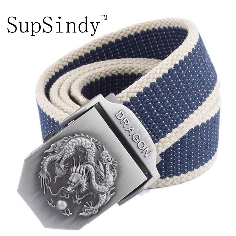 SupSindy men&women Canvas   belt   Dragon metal buckle waistband military   belt   Army tactical   belts   for Men high quality male strap