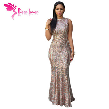 DearLover New Arrival Blush Sequins Keyhole Back Party Gown Pageant Formal Robe De Soiree Vestido lentejuelas Sexy Longo LC60881