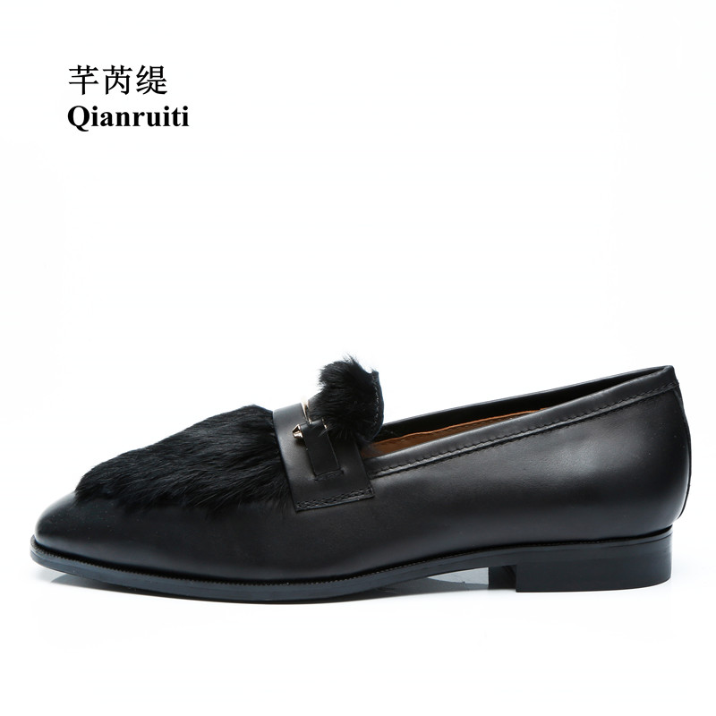 Qianruiti Men's Rabbit Hair Shoes Slip-on Loafers Gold Metal Hook Smoking Shoes EU39-EU46 Customized color Men Casual Shoes qianruiti men alligator gold loafers metal toe business wedding oxfords high quality lace up slippers men dress shoe eu39 eu46