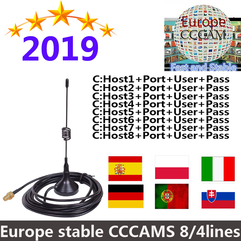 2019 NEW 1.5 Year Cccams For Satellite Tv Receiver Lines WIFI FULL HD DVB-S2 Support Via USB Wifi Dongle