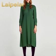 c0951d575184 Laipelar Elegant Women Flowing Green Midi Dress Casual Long Sleeve Party  Dress