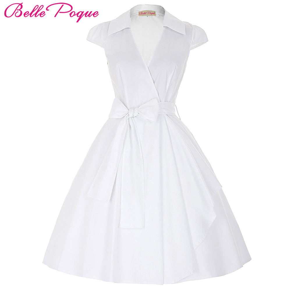 Belle Poque 2018 Audrey Hepburn Suvel kleidid Naised Vintage Swing Robe Rockabilly koduperenaine Retro 50s Pinup kleit Vestidos
