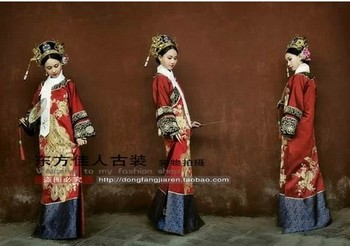 Women's Costume Chinese TV Play Legend of Zhenhuan Queen Costume Princess Costume Dark Red Clothes with Phoneix Applique