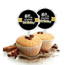 Black Happy Birthday Cake Toppers Cupcake Decor party Decorations Adults Sweet 16 18th 21st 30th 40th 50th 60th Favor