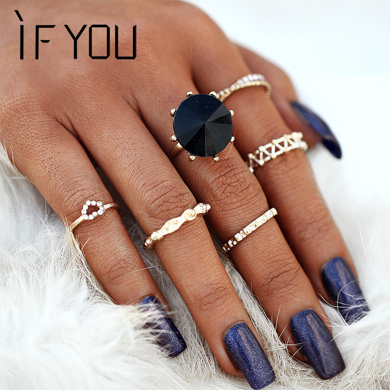 IF YOU 6pcs/Set Big Black Crystal Punk Ring Sets Hollow Alloy Gold Midi Rings For Women Boho Jewelry Knuckle Sets