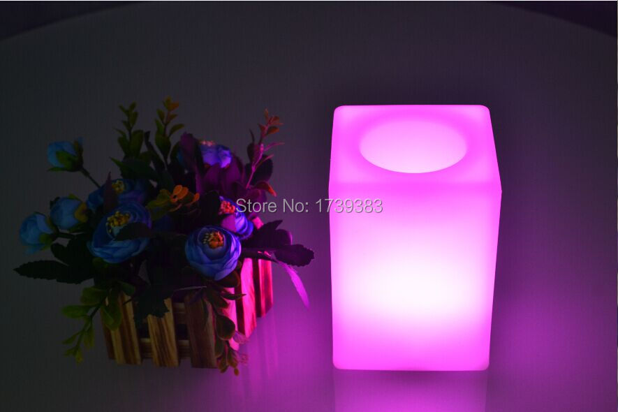 Free Ship Colorful Touch LED Cube bar Table Light Waterproof rechargeable use for LED Flower pot/LED Ice Bucket/LED Storage tank