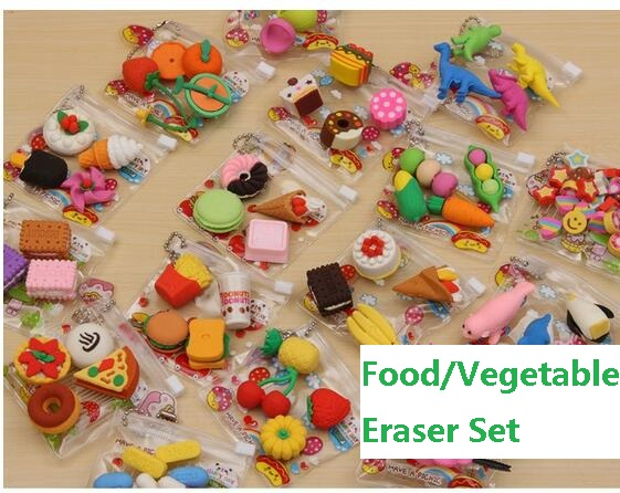 1pack New Fashion Eraser Simulation Food VegetableCake Tool Biscuits Eraser Set Office&Study Rubber Special Children Gifts