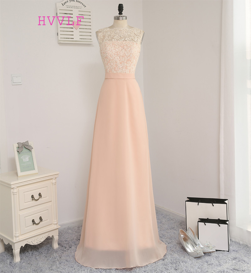 New 2019 A-line High Collar Floor Length Peach Chiffon Lace Long   Bridesmaid     Dresses   Cheap Under 50 Wedding Party   Dresses