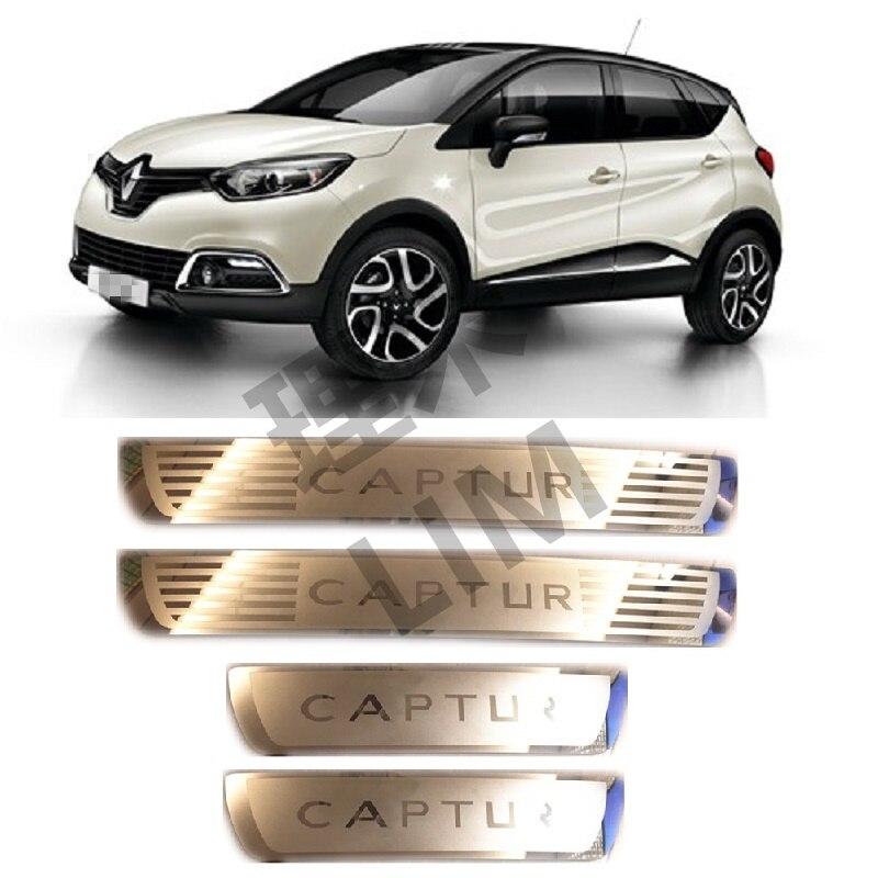 Adequado para renault captur kaptur 2014 2015 2016 2017 2018 aço inoxidável placa de chinelo do peitoril da porta capa adesivo acessórios do carro