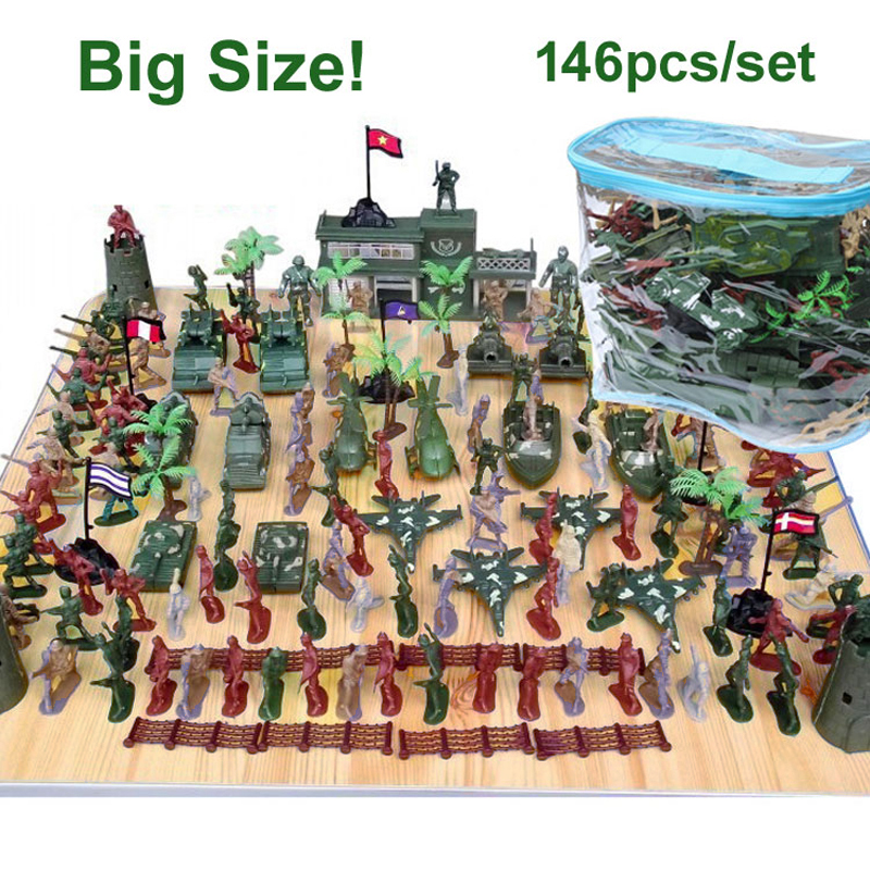 5cm Nostalgic toys children World War II soldier kit 146pcs set Action Figures military Army Men
