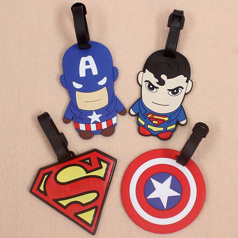 Cute Captain America Superman Luggage Travel Accessories Tag Silicon Suitcase ID Holder Baggage Boarding Tag Portable Label