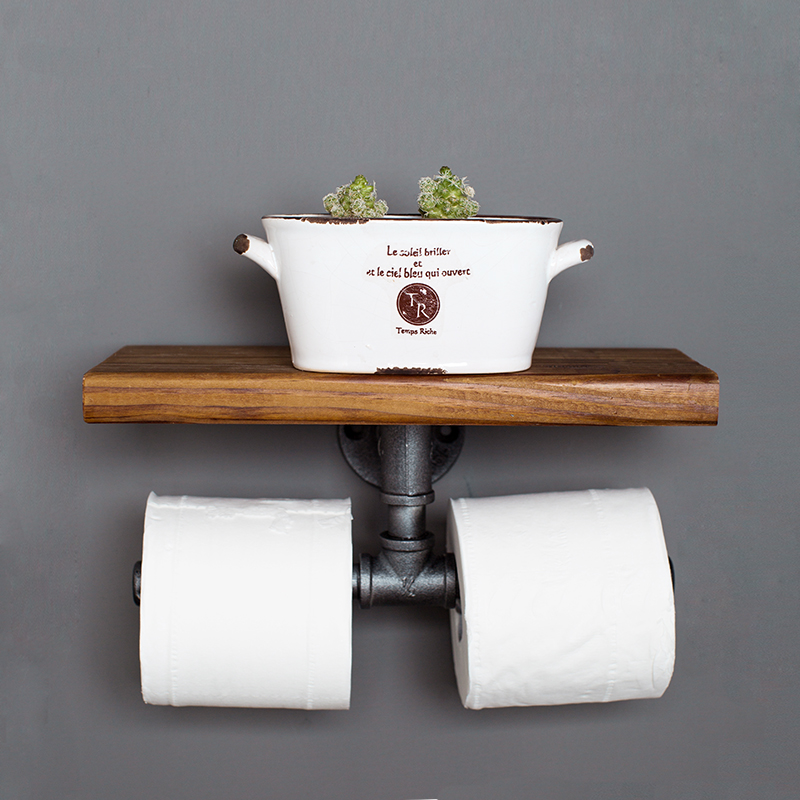 Find Joy Towel Rack Double Toilet Paper Holder Roller Industrial Pipe Shelf Bathroom Industry Style Metal Pipe Wood Rack free shipping wall mounted space aluminum black golden paper towel shelf phone toilet paper holder