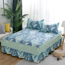 100%Cotton Bed Skirt Pastoral Flower Leaves Print Bedspread Satin green Bed Sheet for Bedroom Queen Size Bed Skirts pillowcase(China)