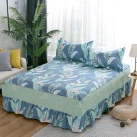 100%Cotton Bed Skirt Pastoral Flower Leaves Print Bedspread Satin green Bed Sheet for Bedroom Queen Size Bed Skirts pillowcase