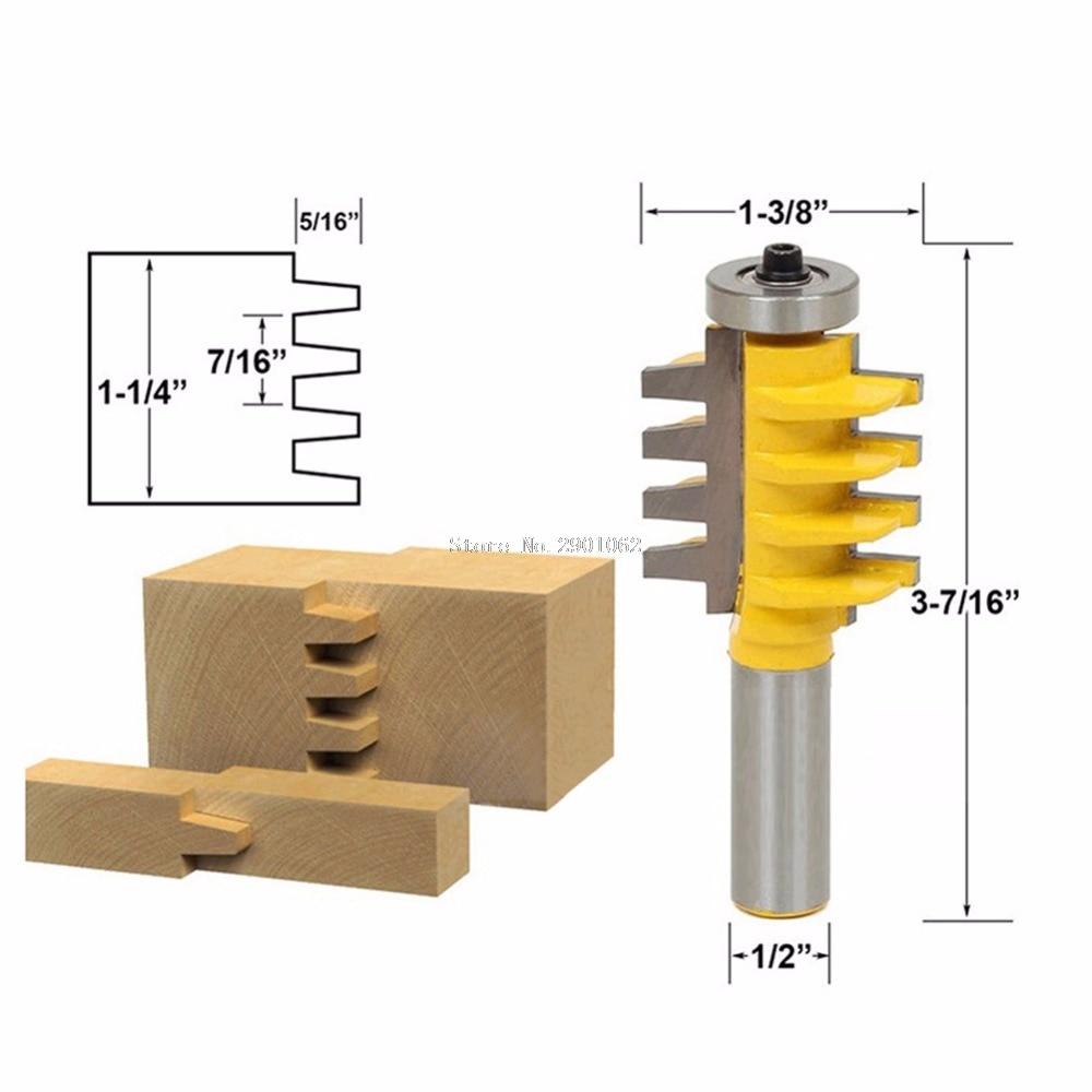 5/16 x 1/2 Shank Rail Stile Glue Joint Router Bit Cone Tenon Woodwork Cutter -B119 2 pcs 1 2t type shank 3teeth tenon cutter 4mm reversible glue bits of high quality dovetail router bits box joint router bit