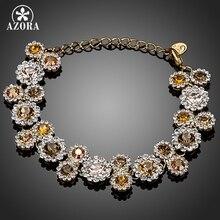 AZORA Gold Color 23pcs Multicolour Round Austrian Crystal End to End Flower Bracelet TS0055