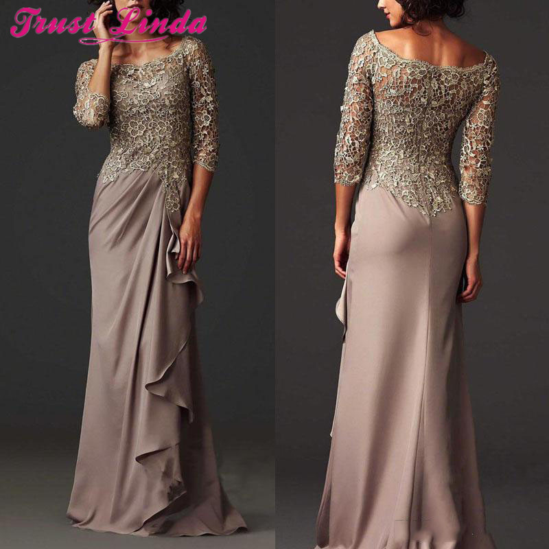 Prom Dresses Lace Sheer Mother Of The Bride Dresses Formal Arabic Party Gowns With Long Sleeves Custom Made