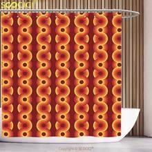 Cool Shower Curtain Geometric Decor Circle Shaped Overlap Round Forms Gradient Retro Pop Art Graphic Print