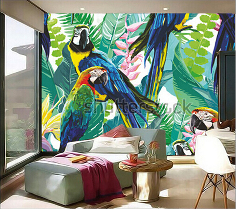 Latest custom 3D large mural,colorful parrots and exotic flowers,living room tv background bedroom wall wallpaper book knowledge power channel creative 3d large mural wallpaper 3d bedroom living room tv backdrop painting wallpaper