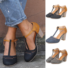Women Sandals 2019 Fashion High Heels Sandals Summer T-Strap Shoes Woman Casual Block Heel Zapatos Mujer Sandale Femme P25