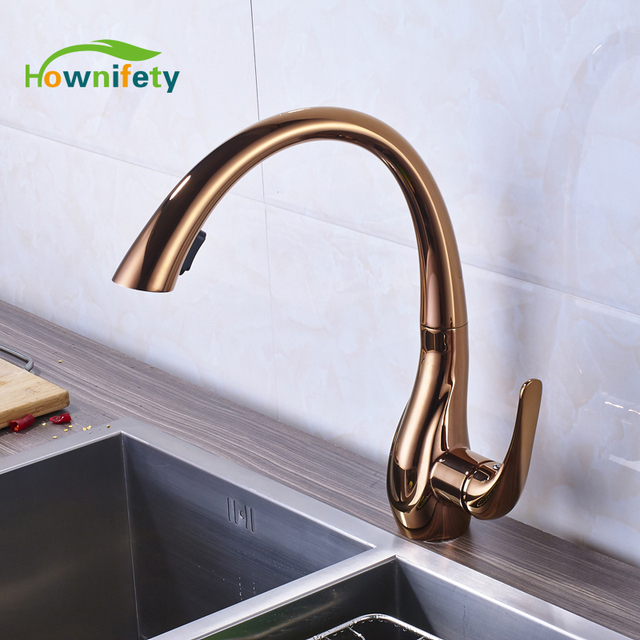 Wholesale And Retail Rose Gold Kitchen Sink Faucet Swivel Spout Pull - Rose gold kitchen faucet