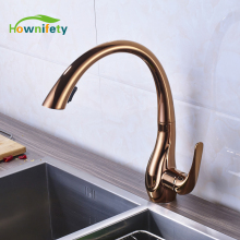 Wholesale and Retail Rose Gold Kitchen Sink Faucet Swivel Spout Pull Down Mixer Tap