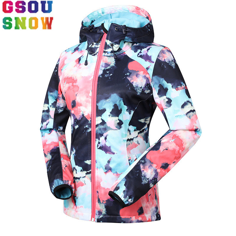 GSOU SNOW outdoor women's Soft shell Waterproof windproof keep warm Breathable Jacket Windbreaker Hunting Cycling Skiing coat lurker shark skin soft shell v4 military tactical jacket men waterproof windproof warm coat camouflage hooded camo army clothing