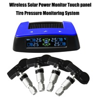 Tire Pressure Monitoring System Solar Power Monitor Touch panel Car TPMS with 4pcs Internal sensor