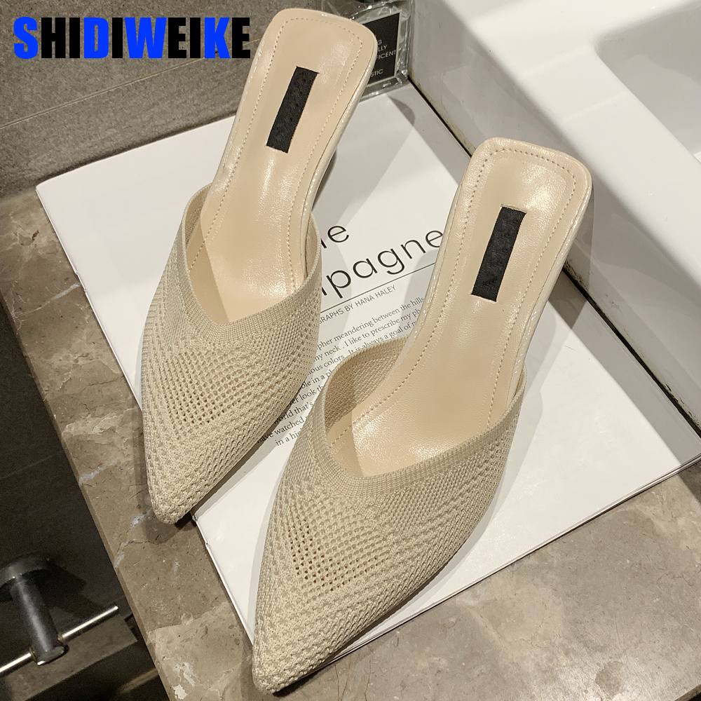 Shoes Female Slippers Footwear Heels Slides Unusual Knitted Pointed-Toe Woman Summer