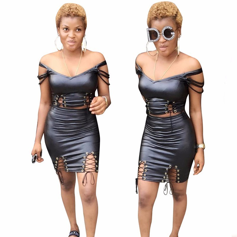 woman black Sexy V Lead Imitate Genuine Leather Sleeveless two piece set leather bandage backless bodycon autumn mini dresses