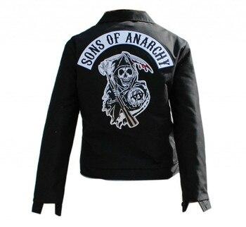 Gran oferta de los hijos de la anarquía Cosplay traje chaqueta vaquera índigo ropa de abrigo ajustada ceñida chaqueta de Jeans para Hombre Ropa