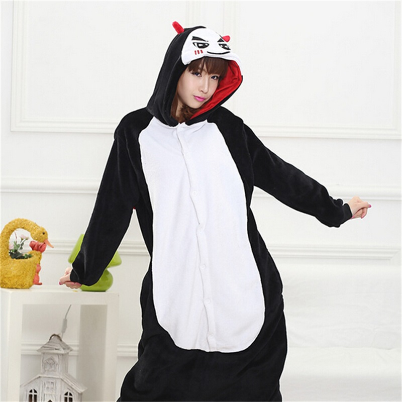 Adult Evil Kigurumi Onesie for Women Pajamas Flannel Warm Loose Soft Sleepwear Overall Onepiece Winter Jumpsuit Cosplay