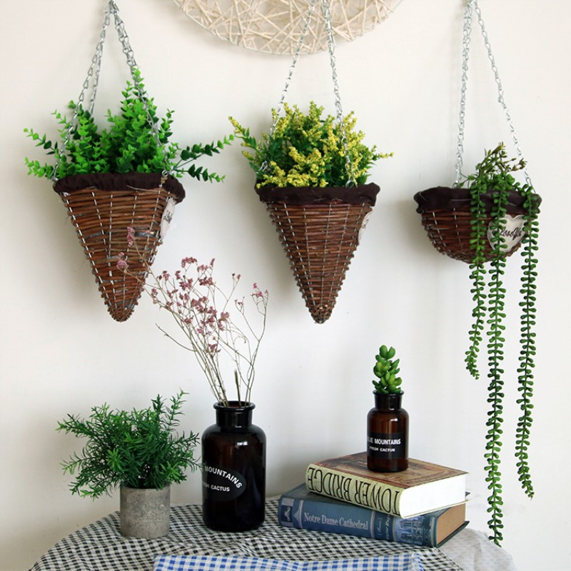 Wicker Woven Wall Hanging Basket Plant Hanger Flower