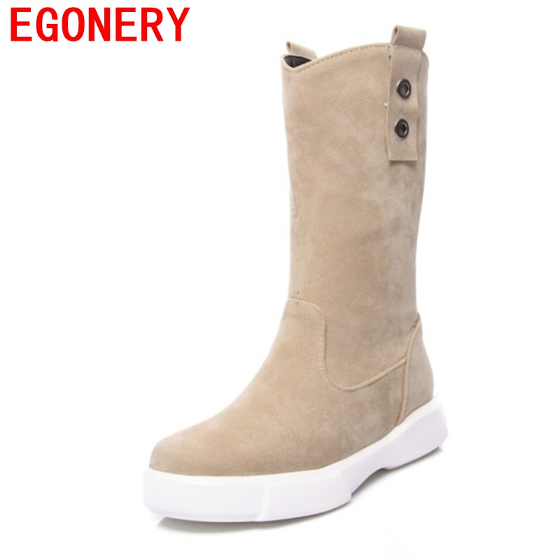 EGONERY women fashion mid calf boots shoes 2017 winter new come round toe ladies brand shoes round toe revit quality boots 34-43 double buckle cross straps mid calf boots