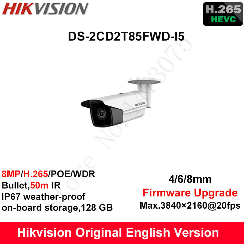 Hikvision English Security Camera DS-2CD2T85FWD-I5 8MP H.265+Bullet CCTV Camera WDR IP Camera POE on-board Storage IP67 50m IR full hd 4mp bullet camera ds 2cd3t45 i5 support h 265 hevc poe ip cctv camera for home security 50m ir range