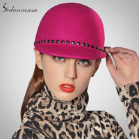 Fashion Women Girls Felt Hat With Rivet Design Peaked Cap Floopy Soft Hat For Winter Spring