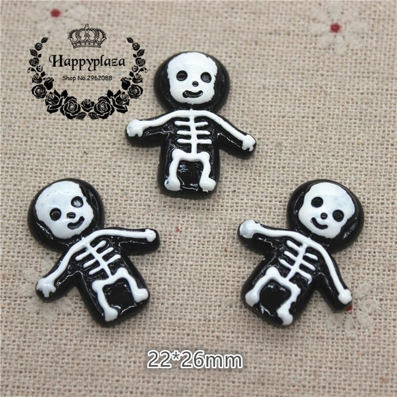 10pcs Halloween Skeleton Flat Back Resin Cabochon Diy Phone Deco EmbellishmentSL