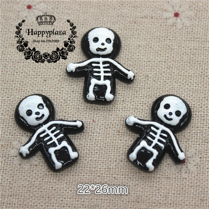 10pcs Resin Halloween Skeleton Flatback Cabochon Miniature Art Supply Decoration Charm Craft, 21*27mm