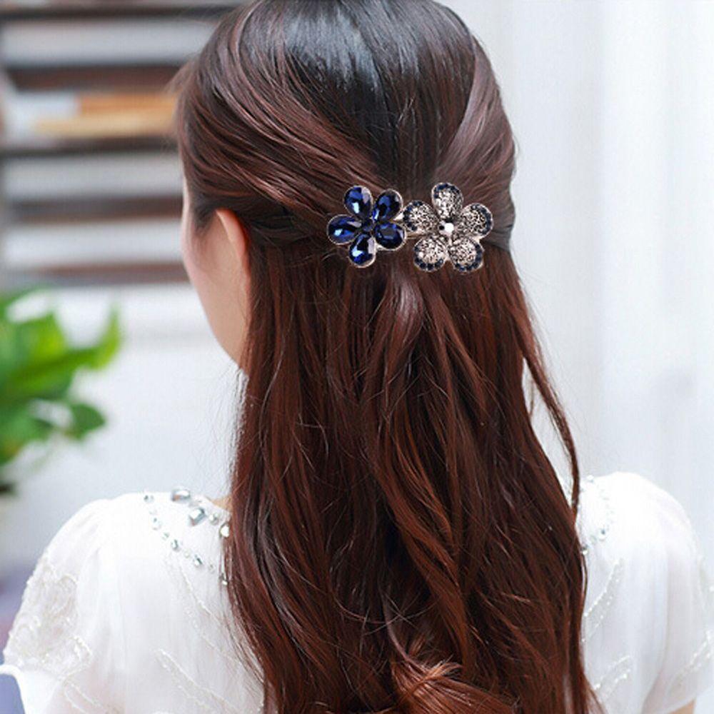 Fashion Ladies Women Crystal Rhinestone Hair Clips Pins Flower Hairpin Barrettes
