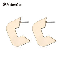 Shineland New Geometric Metal U Shape Stud Earrings for Women Polished Simple Punk Style Personality Girl Piercing Ear Jewelry(China)