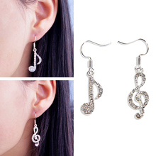 купить Fashion 2PCS/Pair Jewelry Simple Silvery Graceful Drop Earrings Music Notes Exquisite Girls Popular Crystal Gift по цене 49.5 рублей