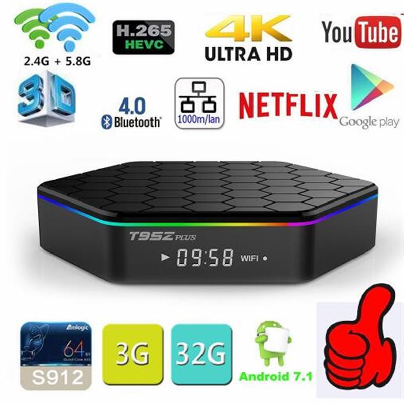 Оригинальный T95Z плюс Android 7,1 ТВ Box Amlogic S912 Octa Core Wi-Fi BT4.0 4 К 3 ГБ 32 ГБ хранения smart Декодер каналов кабельного телевидения Media Player