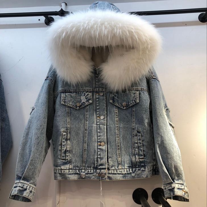 Épais D'hiver Lâche blanc 2018 Denim Vêtements Fourrure Gris Revêtement Capuchon Laine Grande Chaud Jeans rose Parka Agneau Veste À De Femmes Des 511wqSB7