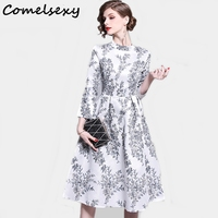 Comelsexy Women Flower Printed High Waist Elegant Evening Party Dress 2019 Spring A line Dress Casual Work Office Lady Vestidos