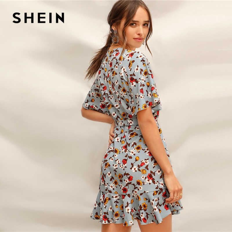 29300305ea ... SHEIN Blue Ruffle Hem Surplice Wrap Floral Belted Summer Short Boho  Dress Women V-Neck ...