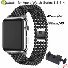 Fashion Stainless Steel link Bracelet watch strap For Apple Watch Band 42 38mm 40 44mm watchband for iwatch 4/3/2/1 wrist strap sport strap for apple watch band 38mm 42mm40mm 44mm watch strap bracelet for iwatch 4 3 2 1 stainless steel wrist band link belt