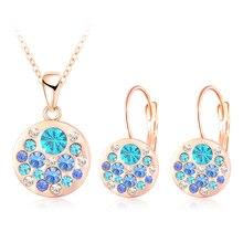 Подвеска/серьги parure австрийских lzeshine кристаллов роуз bijoux позолоченные femme изделий круглый
