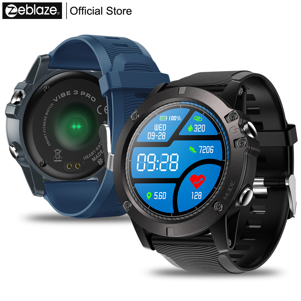 New Zeblaze VIBE 3 PRO Color Touch Display Smartwatch Heart Rate IP67 Multi-Sports Modes Weather Remote Music For IOS & Android g6 tactical smartwatch
