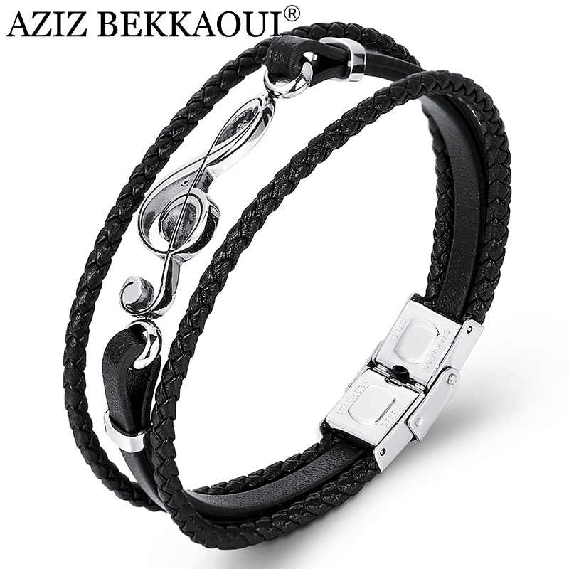 AZIZ BEKKAOUI Unique Punk Stainless Steel Musical Notes Bracelets Male Leather Bracelet for Women Rope Bangle Drop shipping