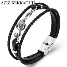 AZIZ BEKKAOUI Unique Punk Stainless Steel Musical Notes Bracelets Male Leather Bracelet for Women Rope Bangle Drop shipping(China)